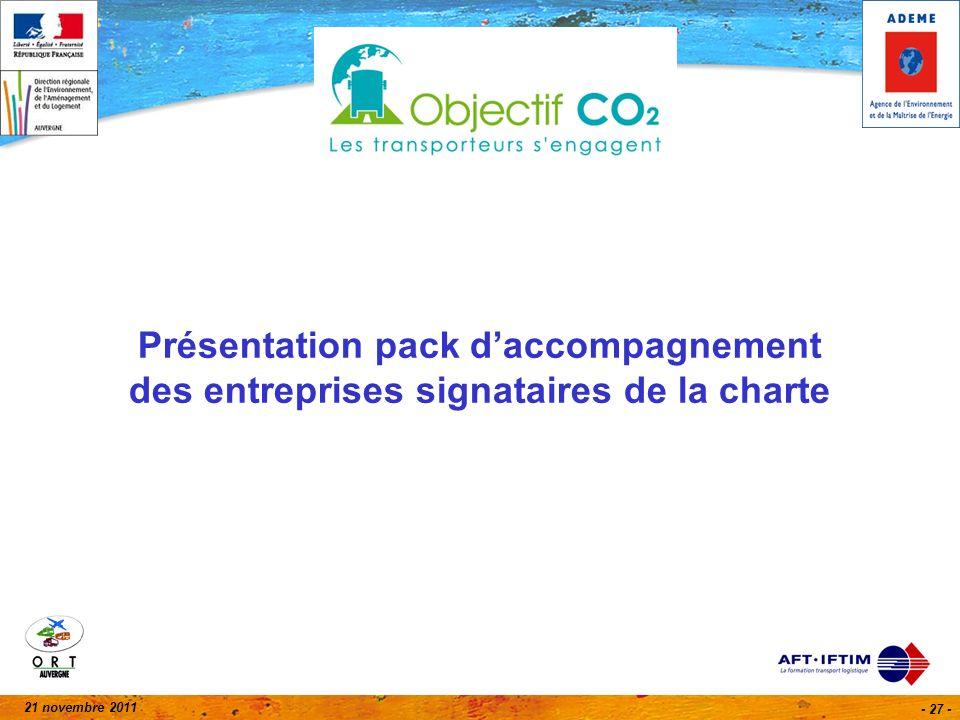21 novembre 2011 - 27 - Présentation pack daccompagnement des entreprises signataires de la charte