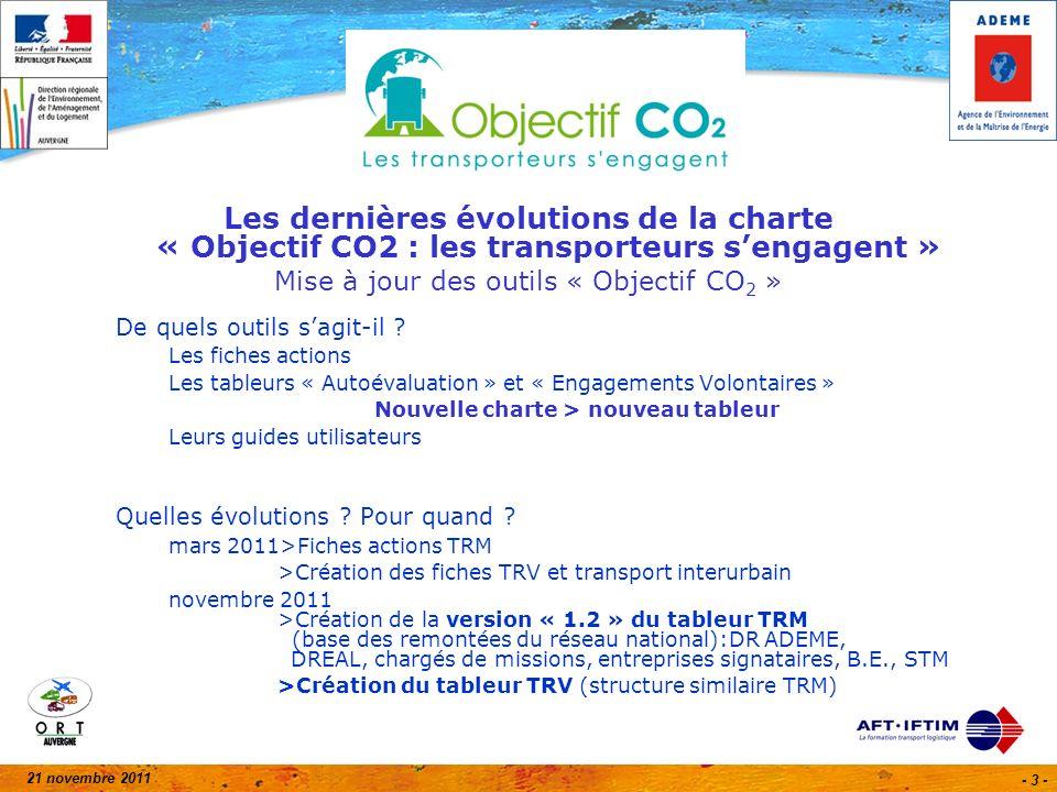 21 novembre 2011 - 3 - Les dernières évolutions de la charte « Objectif CO2 : les transporteurs sengagent » Mise à jour des outils « Objectif CO 2 » De quels outils sagit-il .