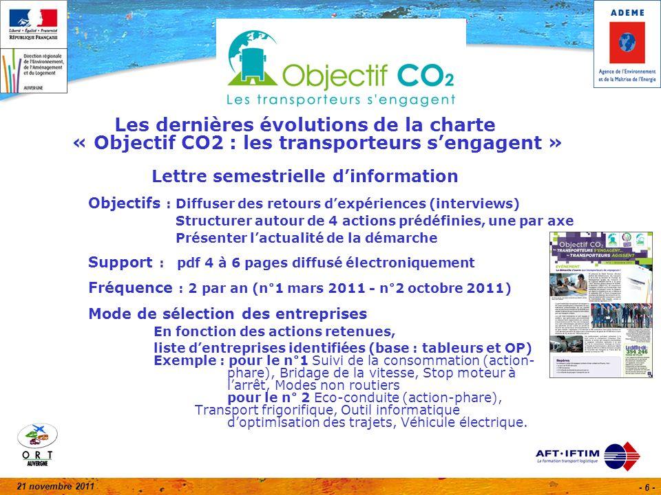 21 novembre 2011 - 37 - Transports : laffichage des émissions de CO 2 devient obligatoire.