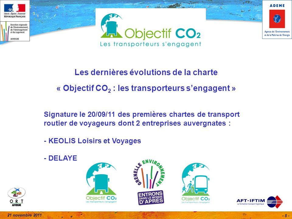 21 novembre 2011 - 8 - Les dernières évolutions de la charte « Objectif CO 2 : les transporteurs sengagent » Signature le 20/09/11 des premières chartes de transport routier de voyageurs dont 2 entreprises auvergnates : - KEOLIS Loisirs et Voyages - DELAYE