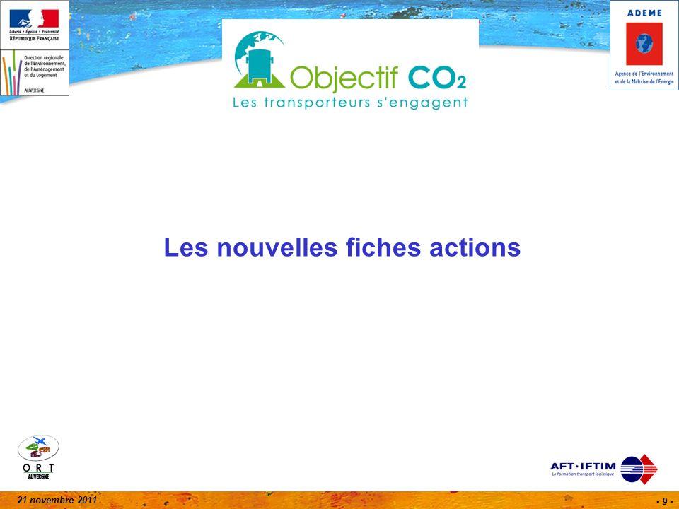 21 novembre 2011 - 20 - Aujourdhui en Auvergne 24 % du parc Auvergne de tracteurs de moins de 10 ans (5 403 parc 2010) 23 % des conducteurs du transport routier de marchandises (6 183) 10 % (28 / 292) des entreprises signataires, 3 % (1 304 / 43 351) des véhicules, 3 % (1 394 / 47 906) des conducteurs