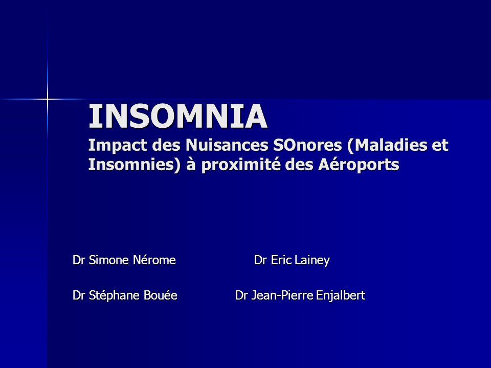 INSOMNIA Impact des Nuisances SOnores (Maladies et Insomnies) à proximité des Aéroports Dr Simone Nérome Dr Eric Lainey Dr Stéphane Bouée Dr Jean-Pier