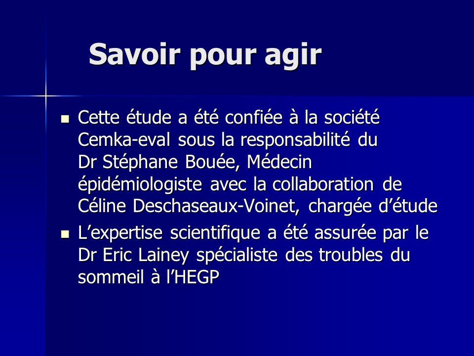 Savoir pour agir Cette étude a été confiée à la société Cemka-eval sous la responsabilité du Dr Stéphane Bouée, Médecin épidémiologiste avec la collab
