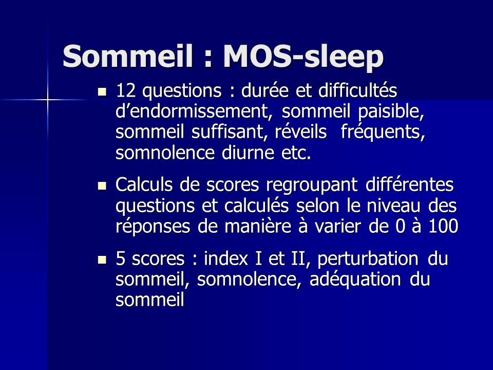 Sommeil : MOS-sleep 12 questions : durée et difficultés dendormissement, sommeil paisible, sommeil suffisant, réveils fréquents, somnolence diurne etc