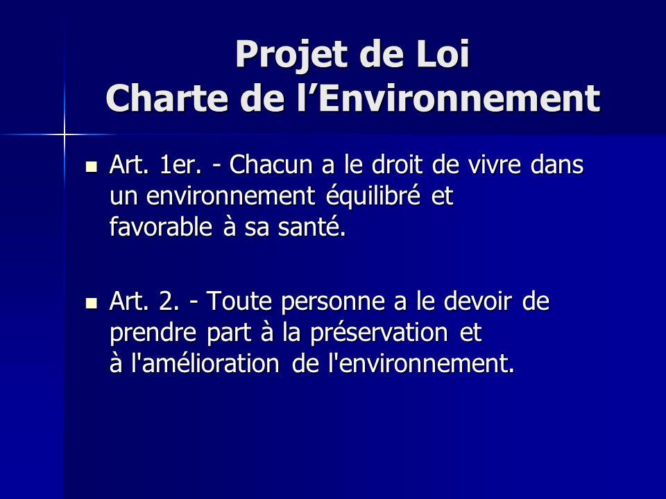 Projet de Loi Charte de lEnvironnement Art. 1er. - Chacun a le droit de vivre dans un environnement équilibré et favorable à sa santé. Art. 1er. - Cha