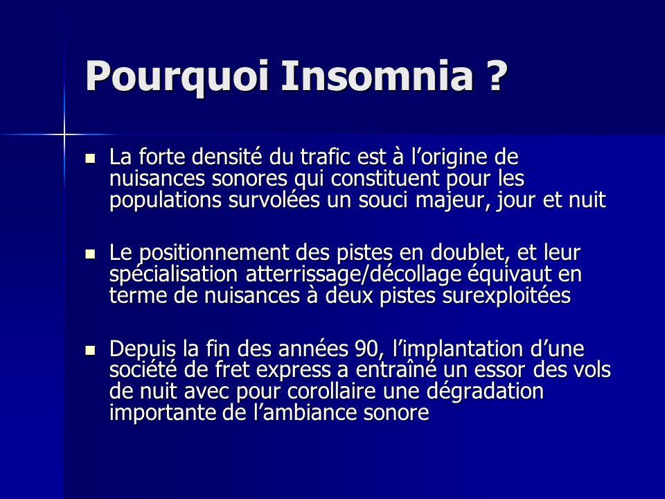 Pourquoi Insomnia ? La forte densité du trafic est à lorigine de nuisances sonores qui constituent pour les populations survolées un souci majeur, jou