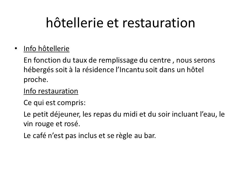hôtellerie et restauration Info hôtellerie En fonction du taux de remplissage du centre, nous serons hébergés soit à la résidence lIncantu soit dans u
