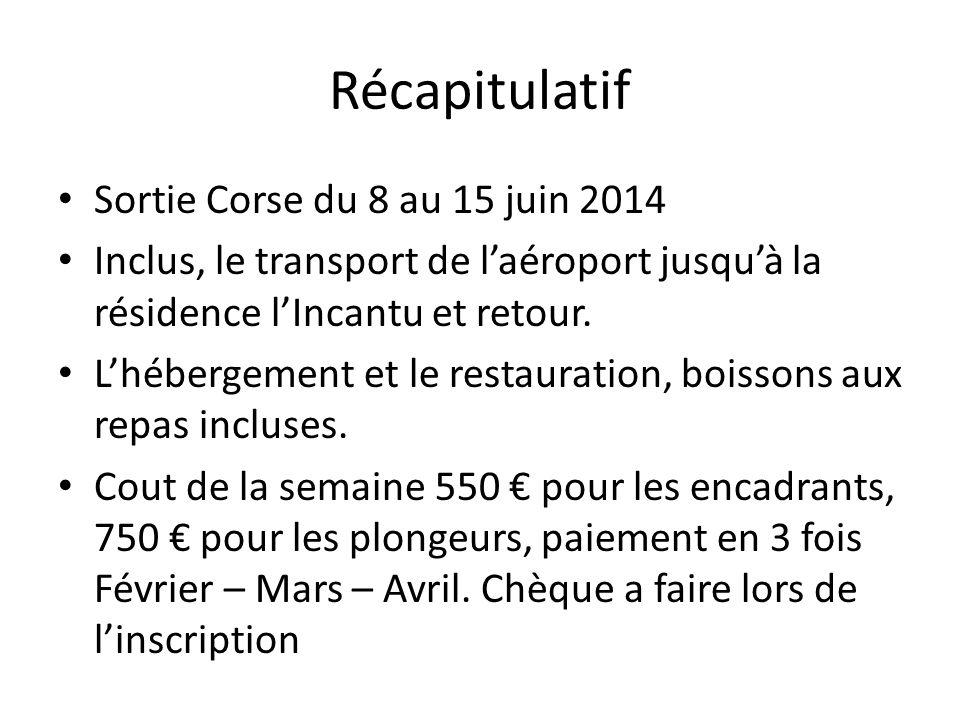 Récapitulatif Sortie Corse du 8 au 15 juin 2014 Inclus, le transport de laéroport jusquà la résidence lIncantu et retour. Lhébergement et le restaurat