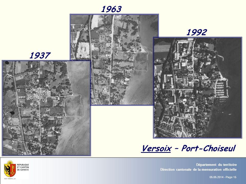 05.05.2014 - Page 15 Direction cantonale de la mensuration officielle Département du territoire 1963 1937 1992 Versoix – Port-Choiseul