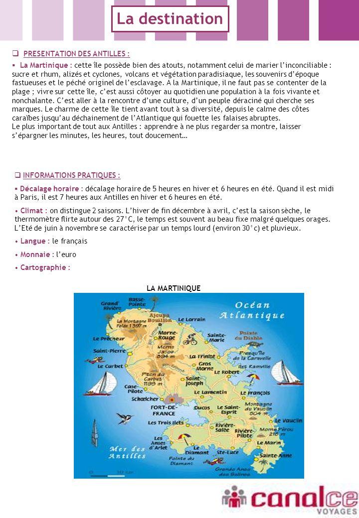 PRESENTATION DES ANTILLES : La Martinique : cette île possède bien des atouts, notamment celui de marier linconciliable : sucre et rhum, alizés et cyc