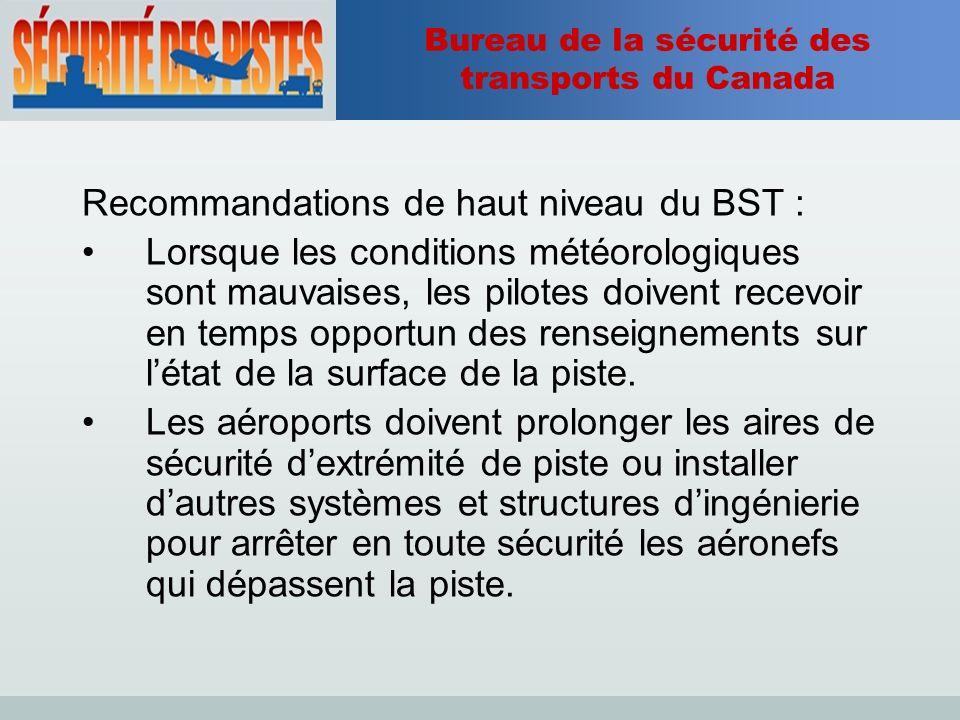 Bureau de la sécurité des transports du Canada Recommandations de haut niveau du BST : Lorsque les conditions météorologiques sont mauvaises, les pilotes doivent recevoir en temps opportun des renseignements sur létat de la surface de la piste.