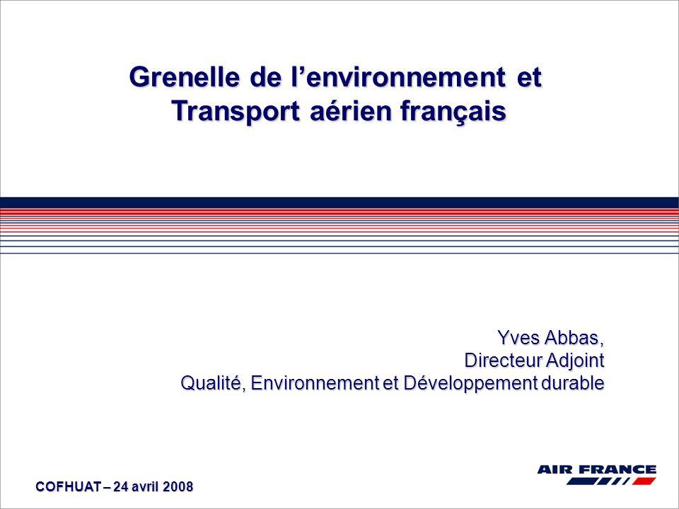 COFHUAT – 24 avril 2008 Grenelle de lenvironnement et Transport aérien français Yves Abbas, Directeur Adjoint Qualité, Environnement et Développement durable