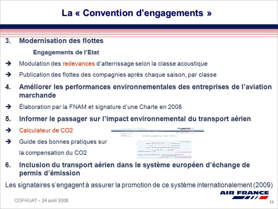 COFHUAT – 24 avril 2008 11 La « Convention dengagements » 3.