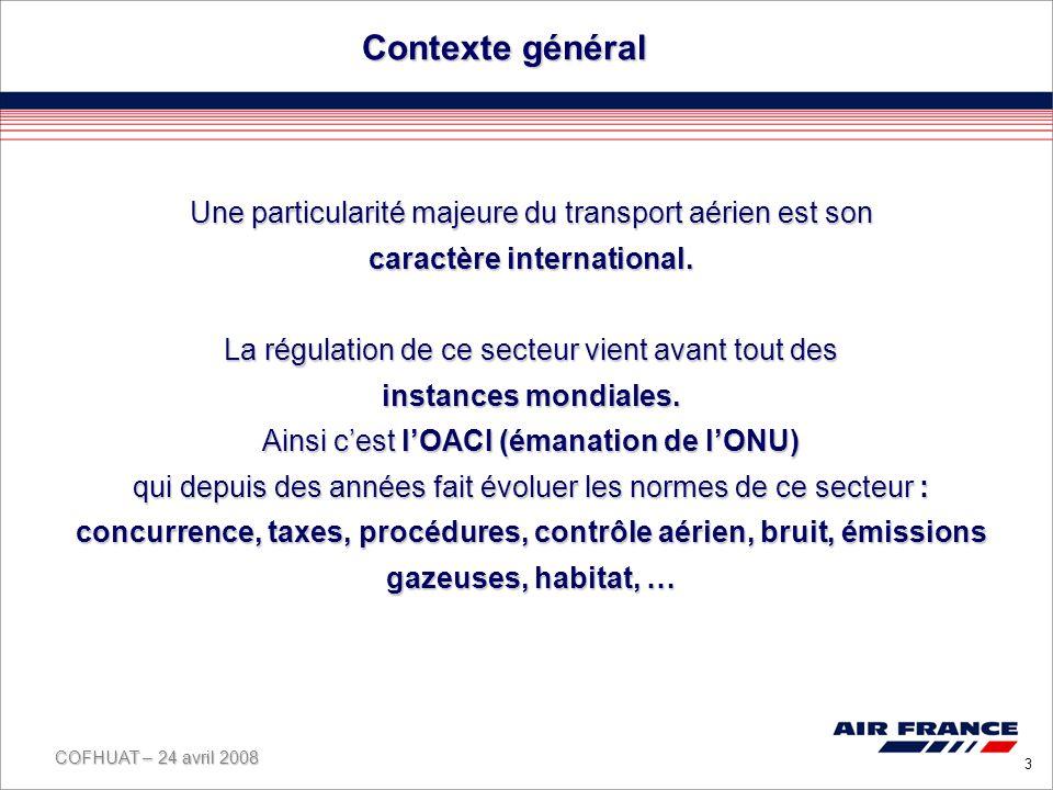 COFHUAT – 24 avril 2008 3 People Profit Contexte général Une particularité majeure du transport aérien est son caractère international.