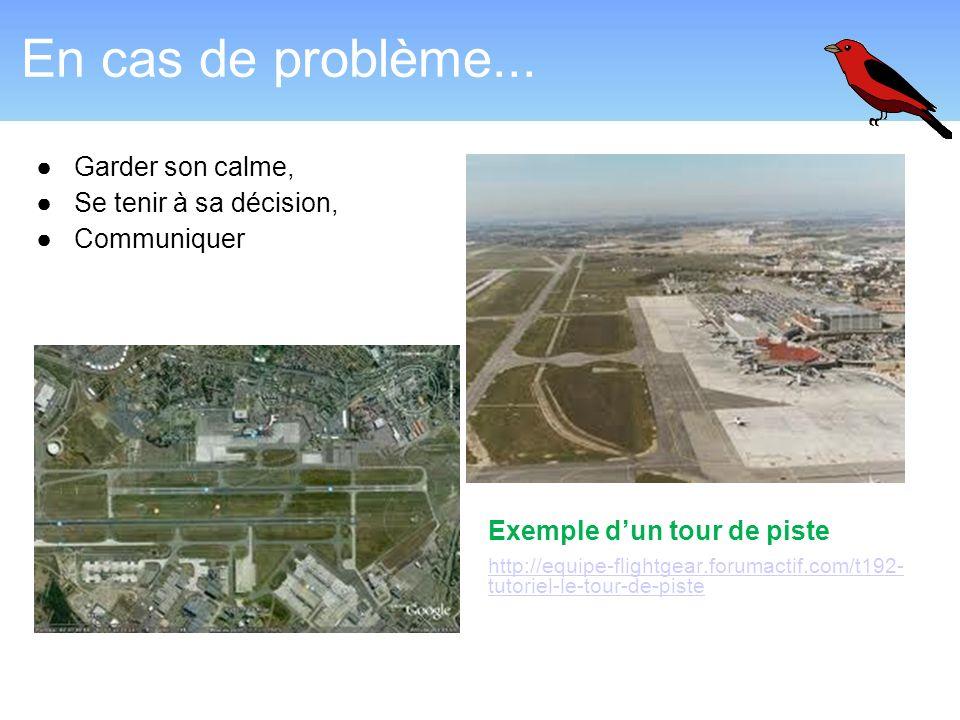 En cas de problème... Garder son calme, Se tenir à sa décision, Communiquer Exemple dun tour de piste http://equipe-flightgear.forumactif.com/t192- tu