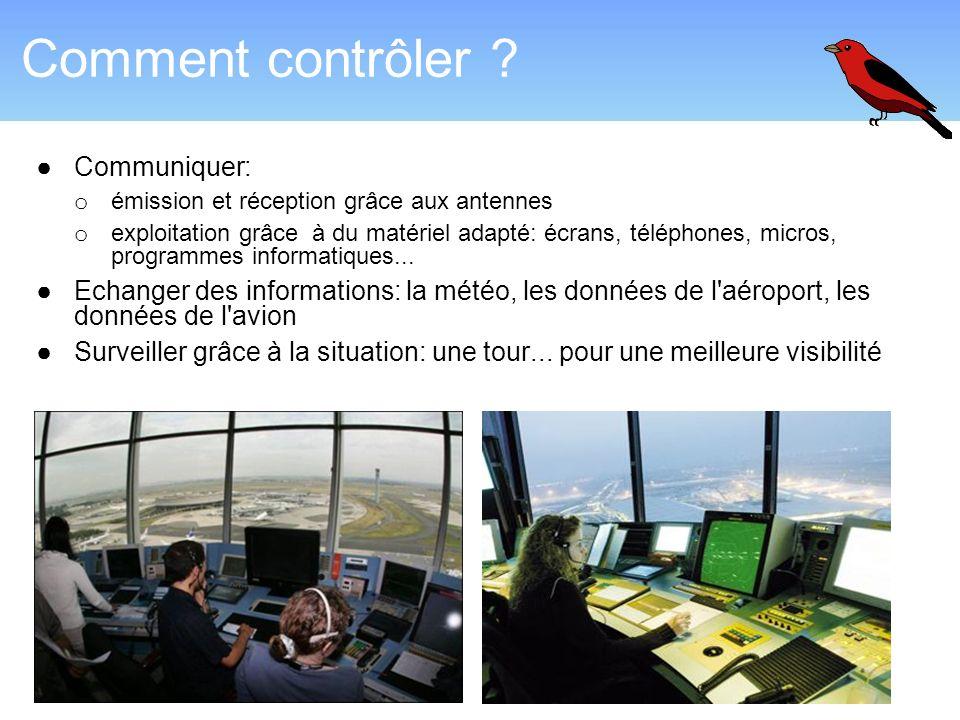 Comment contrôler ? Communiquer: o émission et réception grâce aux antennes o exploitation grâce à du matériel adapté: écrans, téléphones, micros, pro