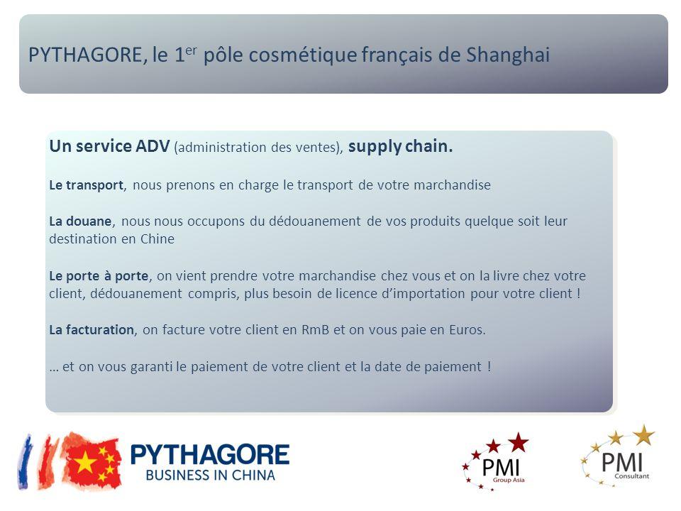 PYTHAGORE, le 1 er pôle cosmétique français de Shanghai Un service ADV (administration des ventes), supply chain. Le transport, nous prenons en charge