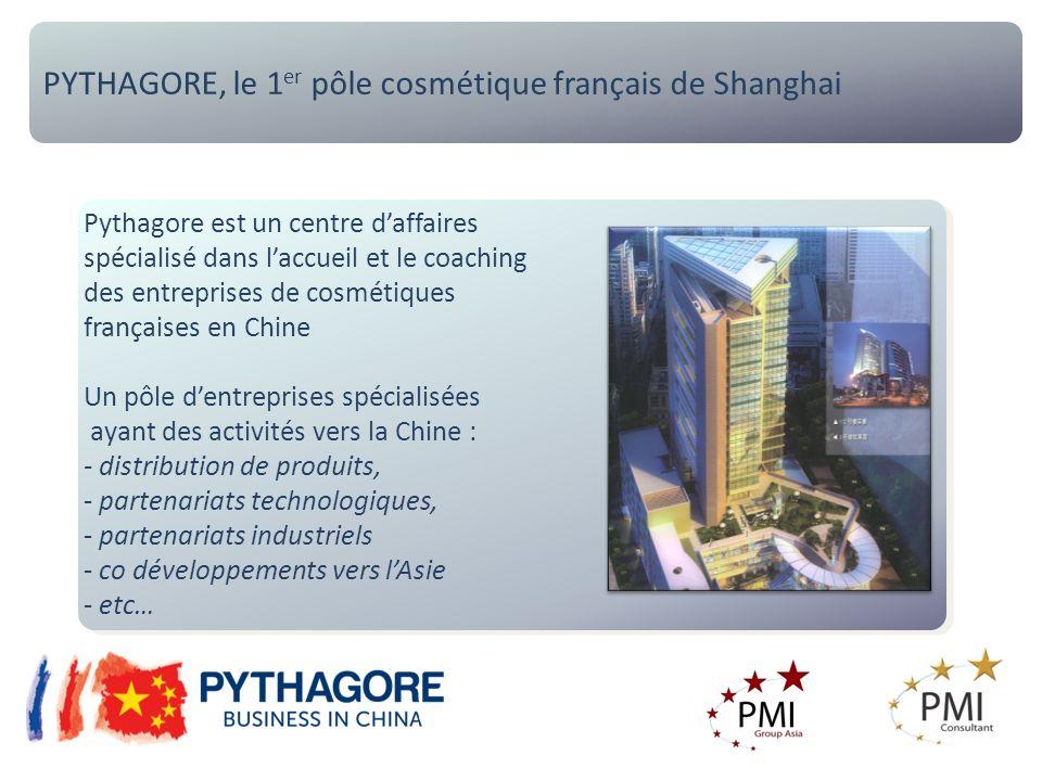 PYTHAGORE, le 1 er pôle cosmétique français de Shanghai Pythagore est un centre daffaires spécialisé dans laccueil et le coaching des entreprises de cosmétiques françaises en Chine Un pôle dentreprises spécialisées ayant des activités vers la Chine : - distribution de produits, - partenariats technologiques, - partenariats industriels - co développements vers lAsie - etc… Pythagore est un centre daffaires spécialisé dans laccueil et le coaching des entreprises de cosmétiques françaises en Chine Un pôle dentreprises spécialisées ayant des activités vers la Chine : - distribution de produits, - partenariats technologiques, - partenariats industriels - co développements vers lAsie - etc…
