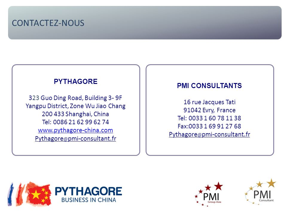 CONTACTEZ-NOUS PYTHAGORE 323 Guo Ding Road, Building 3- 9F Yangpu District, Zone Wu Jiao Chang 200 433 Shanghai, China Tel: 0086 21 62 99 62 74 www.py