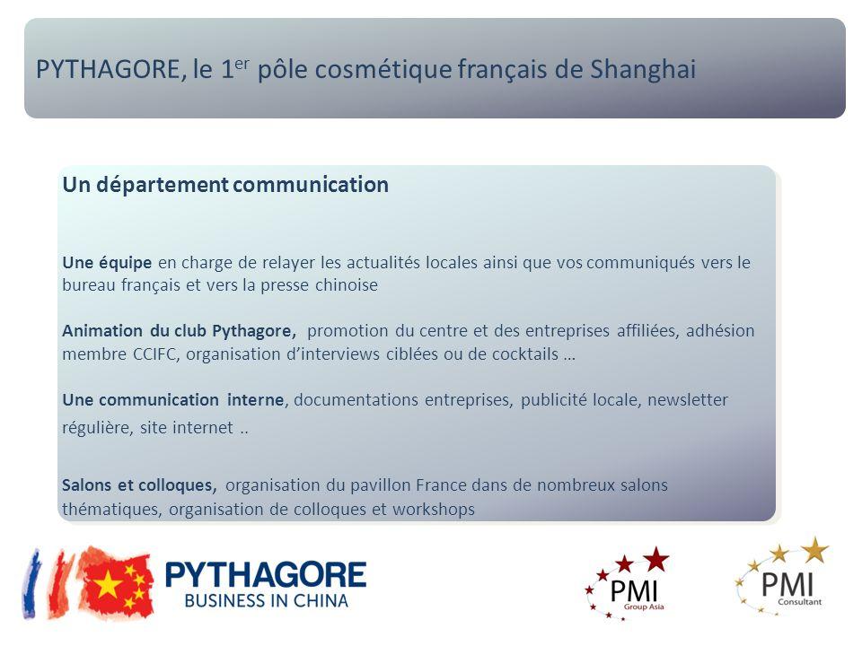 PYTHAGORE, le 1 er pôle cosmétique français de Shanghai Un département communication Une équipe en charge de relayer les actualités locales ainsi que