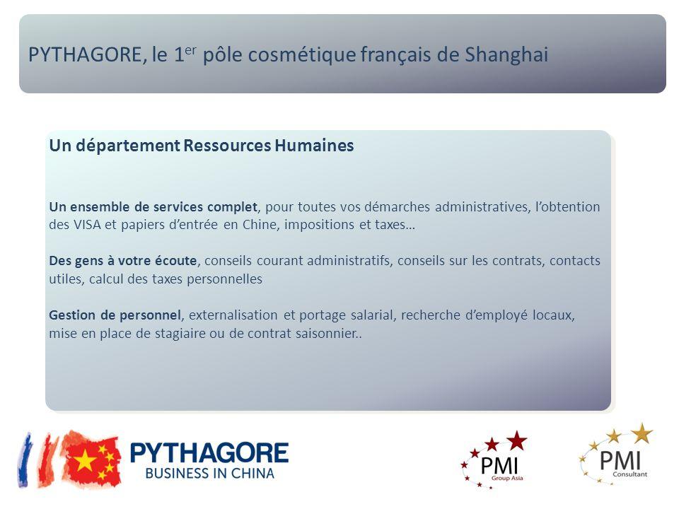 PYTHAGORE, le 1 er pôle cosmétique français de Shanghai Un département Ressources Humaines Un ensemble de services complet, pour toutes vos démarches