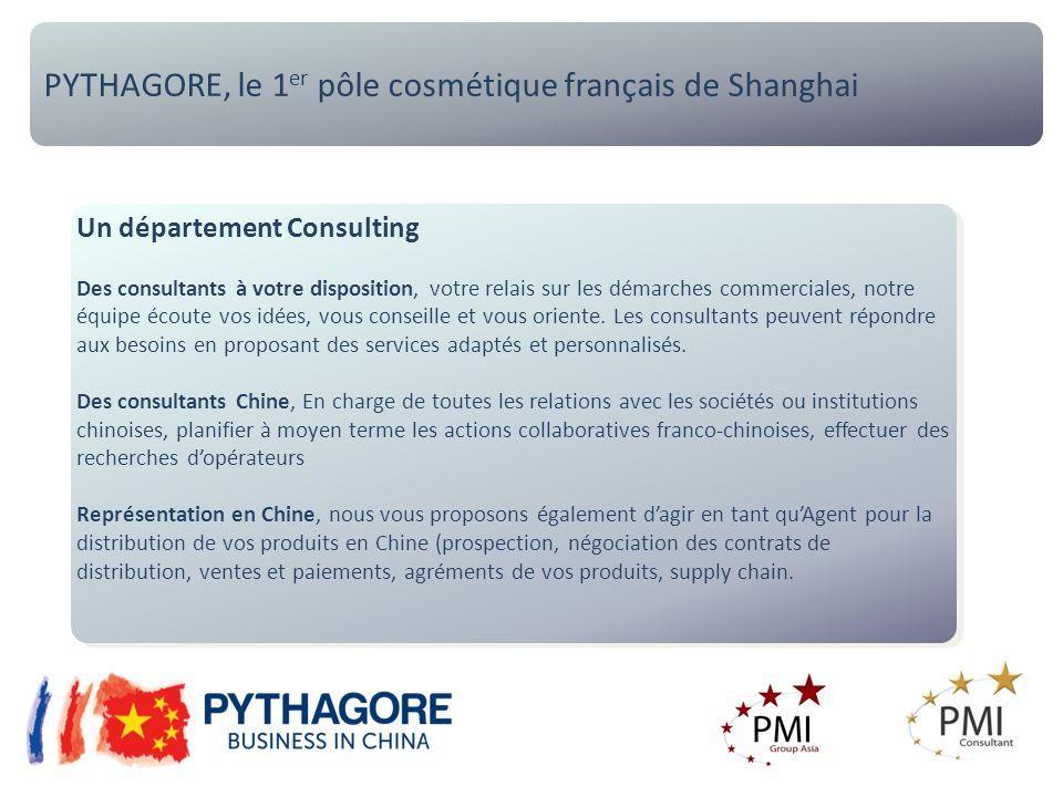 PYTHAGORE, le 1 er pôle cosmétique français de Shanghai Un département Consulting Des consultants à votre disposition, votre relais sur les démarches commerciales, notre équipe écoute vos idées, vous conseille et vous oriente.