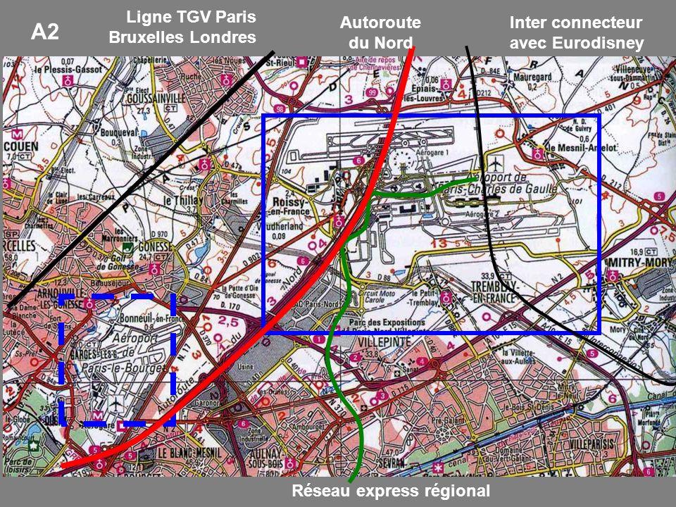 Ligne TGV Paris Bruxelles Londres Inter connecteur avec Eurodisney Réseau express régional Autoroute du Nord A2