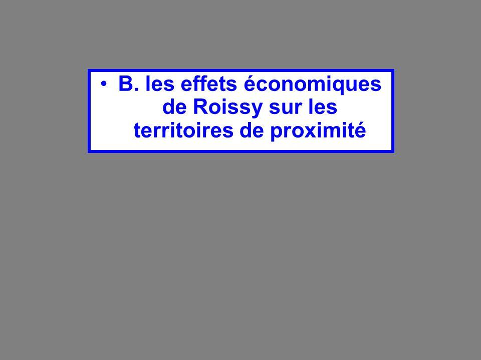 B. les effets économiques de Roissy sur les territoires de proximité
