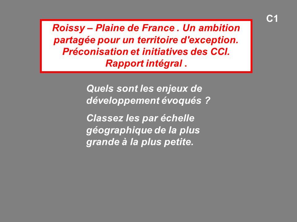 Roissy – Plaine de France. Un ambition partagée pour un territoire d'exception. Préconisation et initiatives des CCI. Rapport intégral. Quels sont les