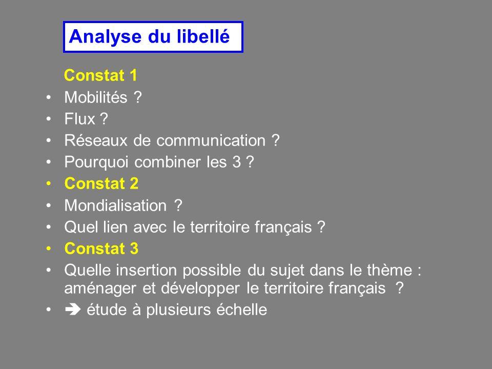 Constat 1 Mobilités ? Flux ? Réseaux de communication ? Pourquoi combiner les 3 ? Constat 2 Mondialisation ? Quel lien avec le territoire français ? C