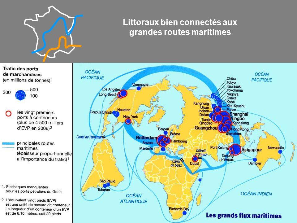 Littoraux bien connectés aux grandes routes maritimes