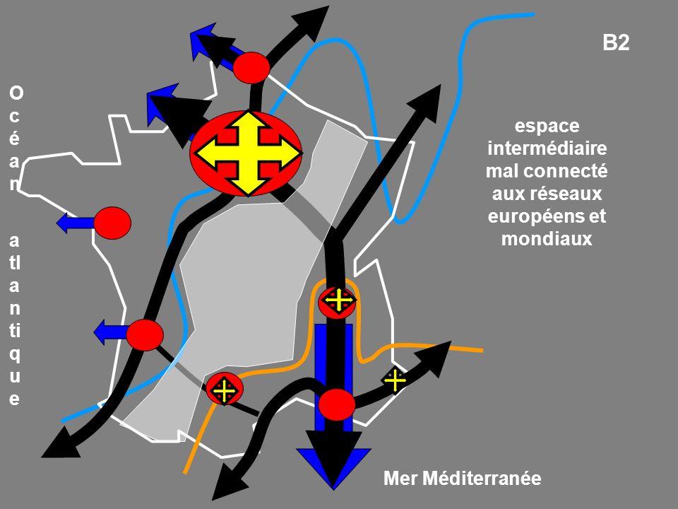 Mer Méditerranée O c é a n a tl a n ti q u e espace intermédiaire mal connecté aux réseaux européens et mondiaux B2