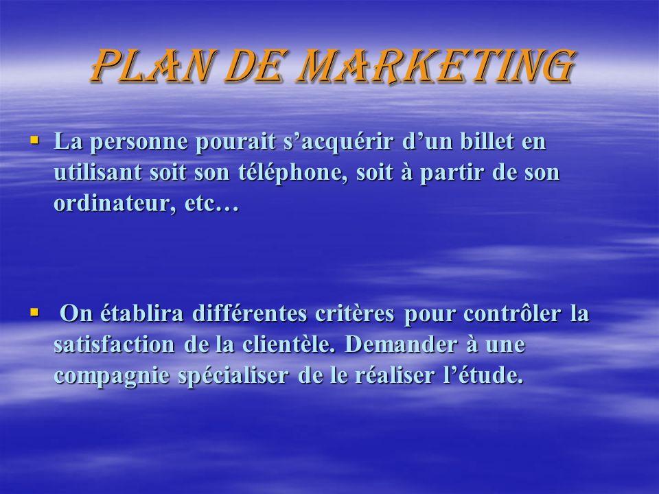 Plan de marketing La personne pourait sacquérir dun billet en utilisant soit son téléphone, soit à partir de son ordinateur, etc… La personne pourait