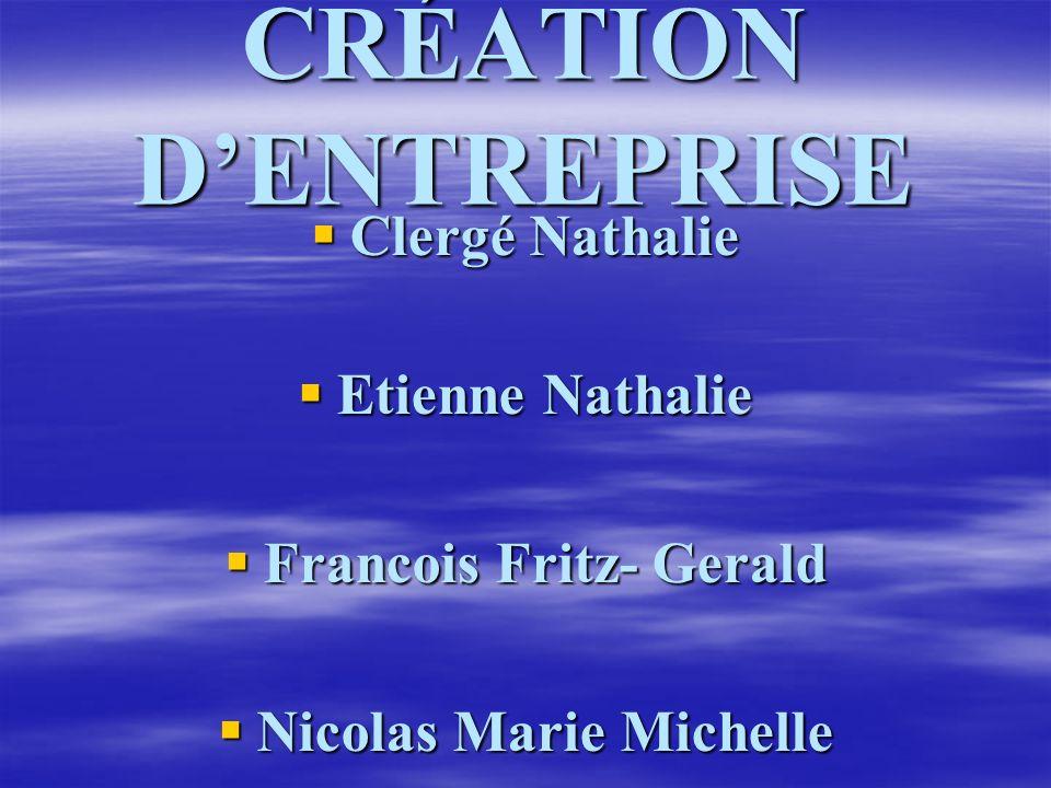 CRÉATION DENTREPRISE Clergé Nathalie Clergé Nathalie Etienne Nathalie Etienne Nathalie Francois Fritz- Gerald Francois Fritz- Gerald Nicolas Marie Mic