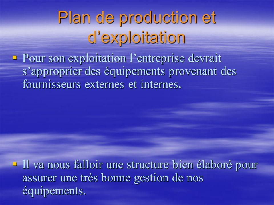 Plan de production et dexploitation Pour son exploitation lentreprise devrait sapproprier des équipements provenant des fournisseurs externes et inter