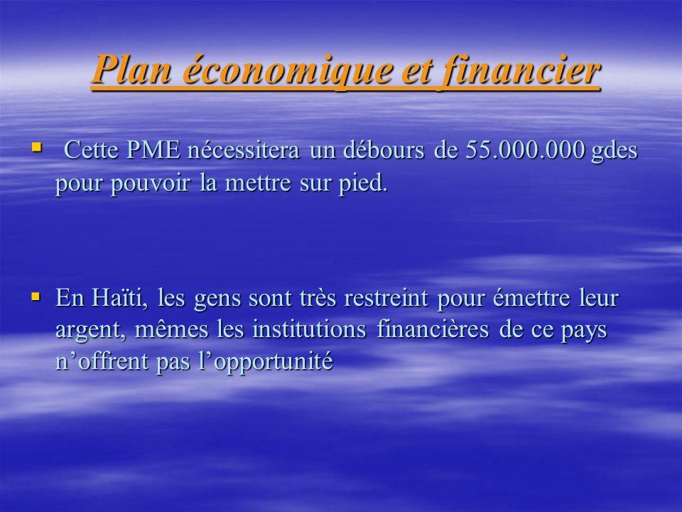 Plan économique et financier Plan économique et financier Cette PME nécessitera un débours de 55.000.000 gdes pour pouvoir la mettre sur pied. Cette P