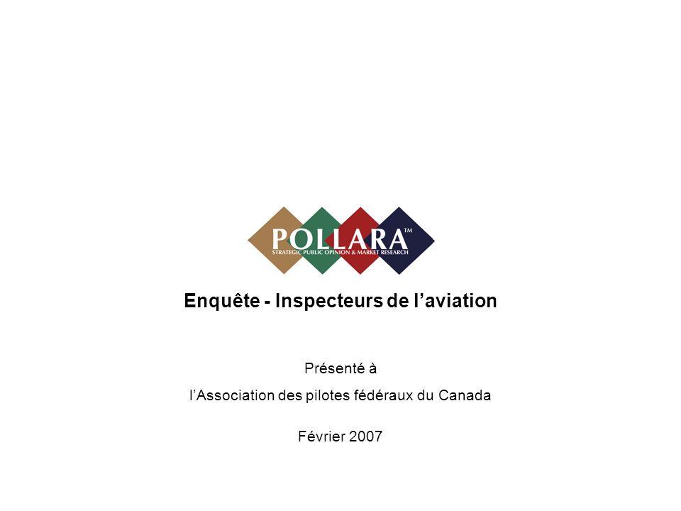 Enquête - Inspecteurs de laviation Présenté à lAssociation des pilotes fédéraux du Canada Février 2007