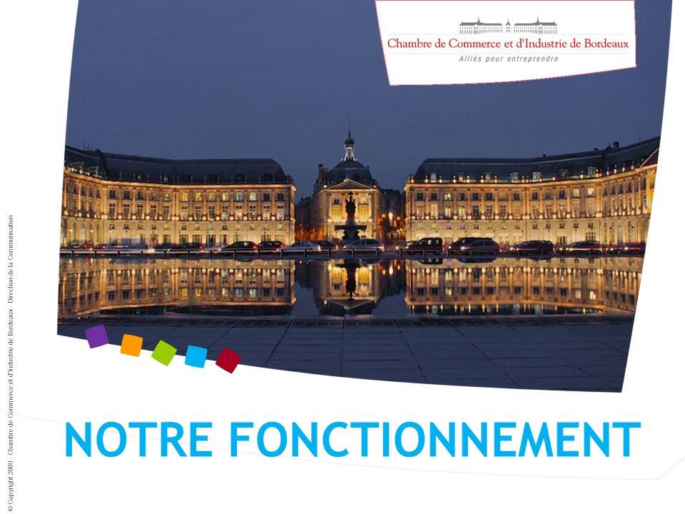 NOTRE FONCTIONNEMENT © Copyright 2009 - Chambre de Commerce et dIndustrie de Bordeaux - Direction de la Communication