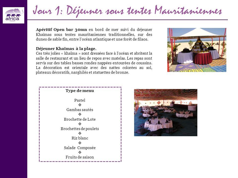 Jour 1: Déjeuner sous tentes Mauritaniennes Apéritif Open bar 30mn en bord de mer suivi du déjeuner Khaîmas sous tentes mauritaniennes traditionnelles