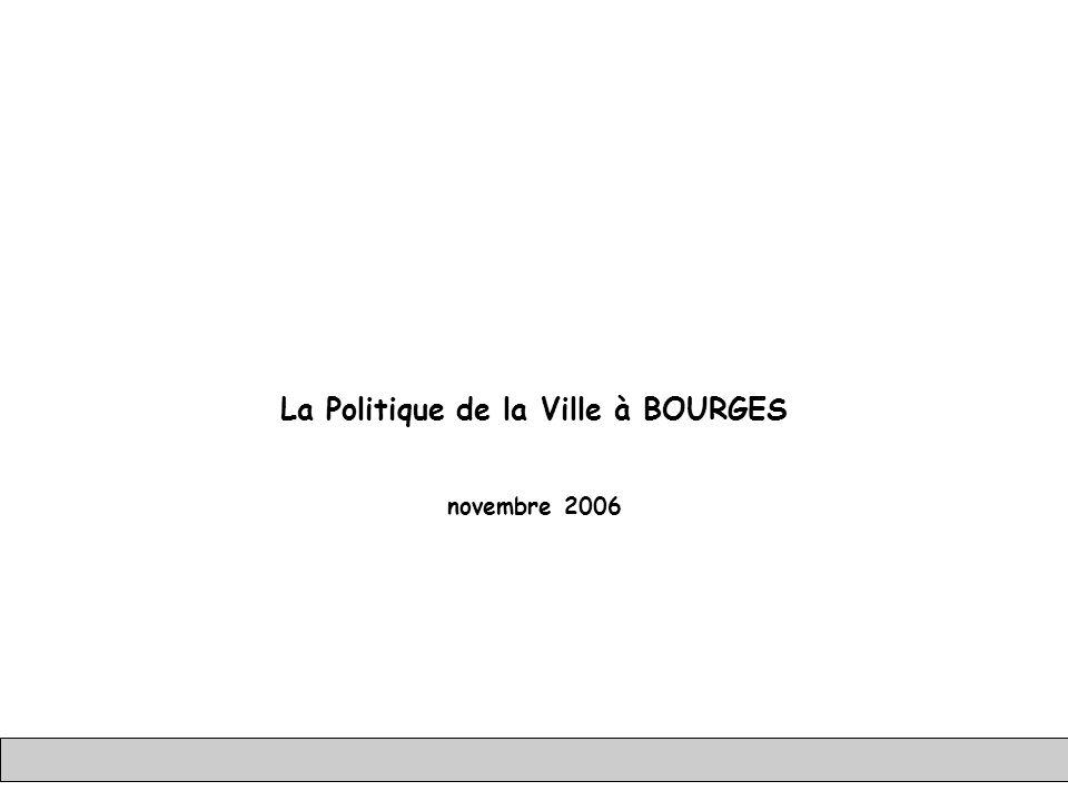 1989 19901991199219931994199519961997199819992000200120022003200420052006200720082009201020112012 DSQ Contrat de Ville 1 ZFU 1 Contrat de Ville 2 ZFU 2 PRU CUCS Extension ZFU La Politique de la Ville à Bourges GIP RUB – EL/JPR/HRF – 22 nov 2006