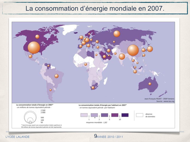 9 LYCÉE LALANDE ANNEE 2010 / 2011 La consommation dénergie mondiale en 2007.