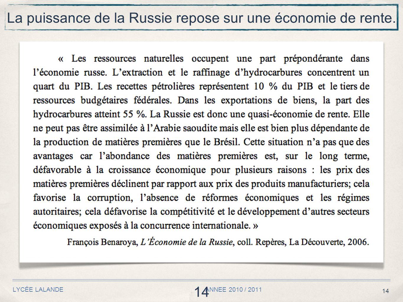 14 LYCÉE LALANDE ANNEE 2010 / 2011 14 La puissance de la Russie repose sur une économie de rente.