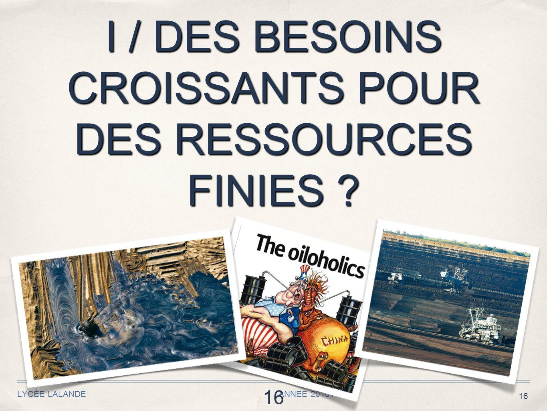 16 I / DES BESOINS CROISSANTS POUR DES RESSOURCES FINIES ? LYCÉE LALANDE ANNEE 2010 / 2011 16