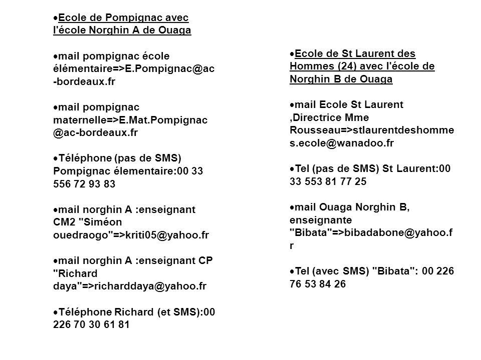 Ecole de Pompignac avec l'école Norghin A de Ouaga mail pompignac école élémentaire=>E.Pompignac@ac -bordeaux.fr mail pompignac maternelle=>E.Mat.Pomp
