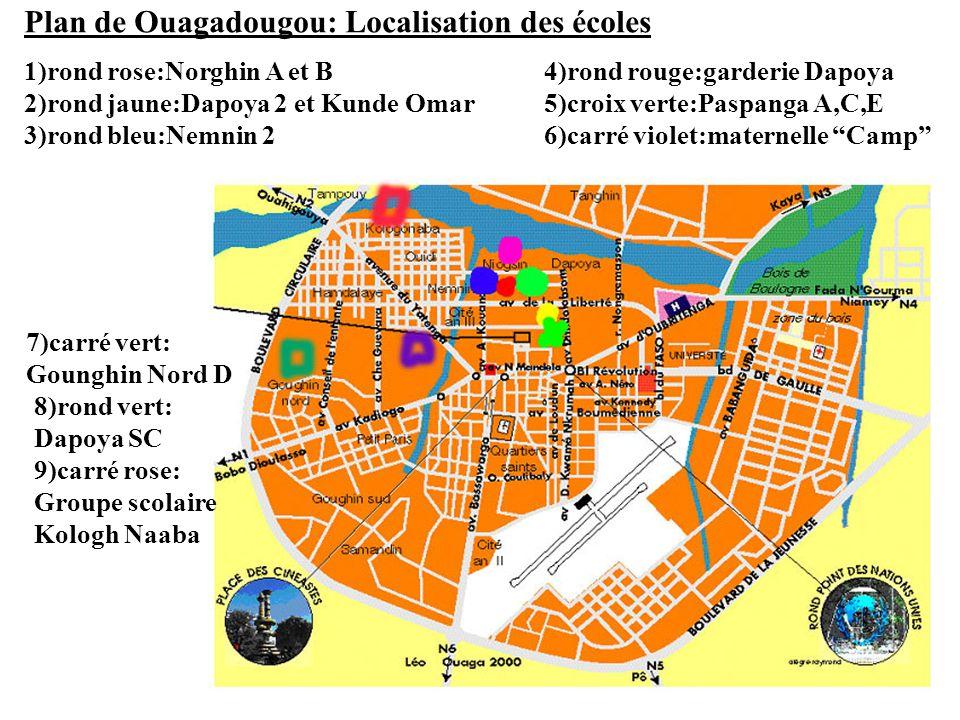 Plan de Ouagadougou: Localisation des écoles 1)rond rose:Norghin A et B 2)rond jaune:Dapoya 2 et Kunde Omar 3)rond bleu:Nemnin 2 4)rond rouge:garderie