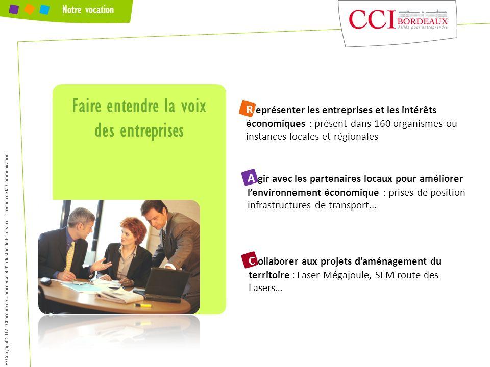 Notre vocation Faire entendre la voix des entreprises © Copyright 2012 - Chambre de Commerce et dIndustrie de Bordeaux - Direction de la Communication