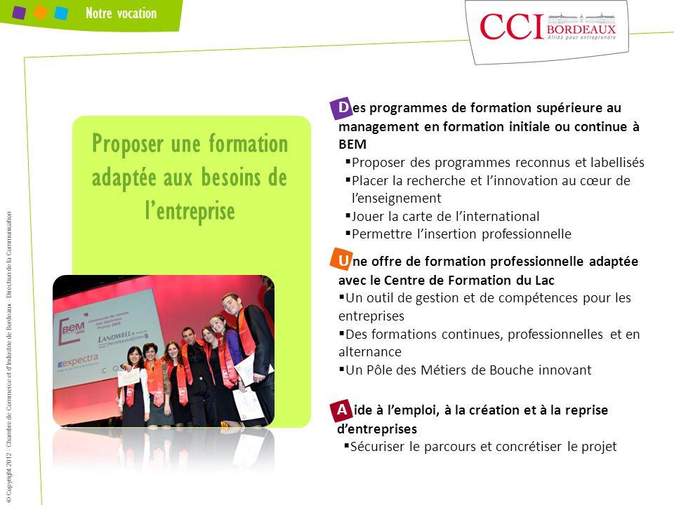 Notre vocation Proposer une formation adaptée aux besoins de lentreprise © Copyright 2012 - Chambre de Commerce et dIndustrie de Bordeaux - Direction