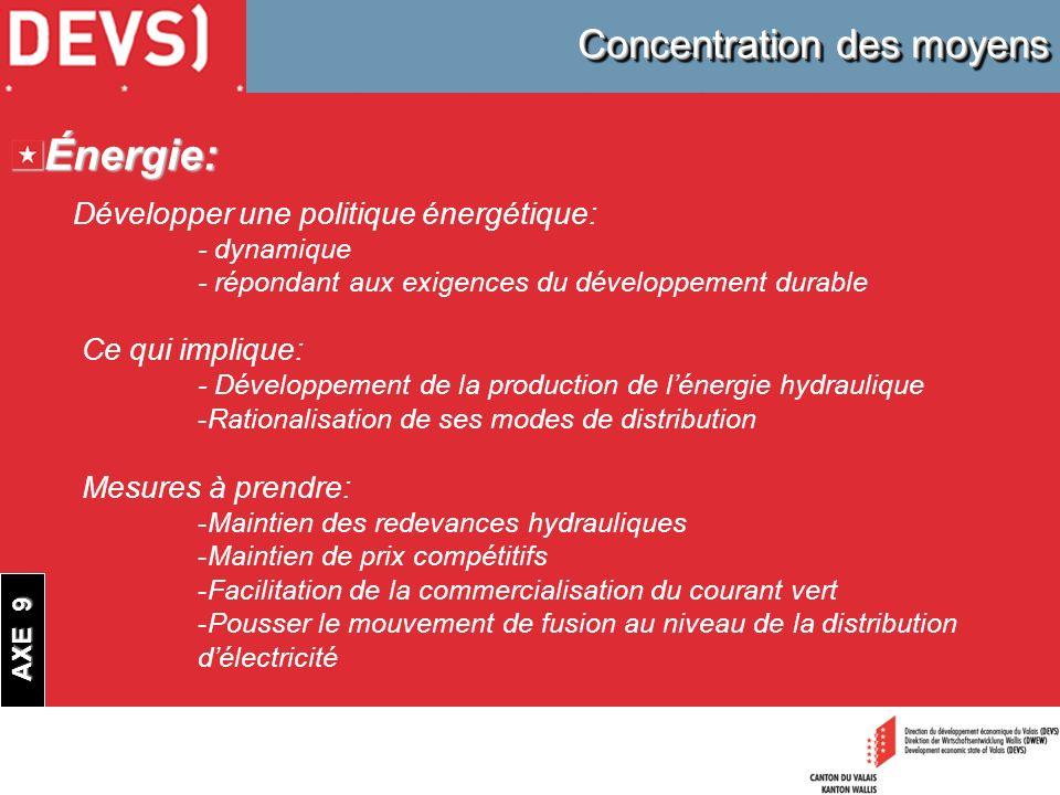 Concentration des moyens Énergie: Développer une politique énergétique: - dynamique - répondant aux exigences du développement durable Ce qui implique