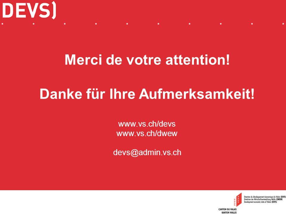 Merci de votre attention! Danke für Ihre Aufmerksamkeit! www.vs.ch/devs www.vs.ch/dwew devs@admin.vs.ch
