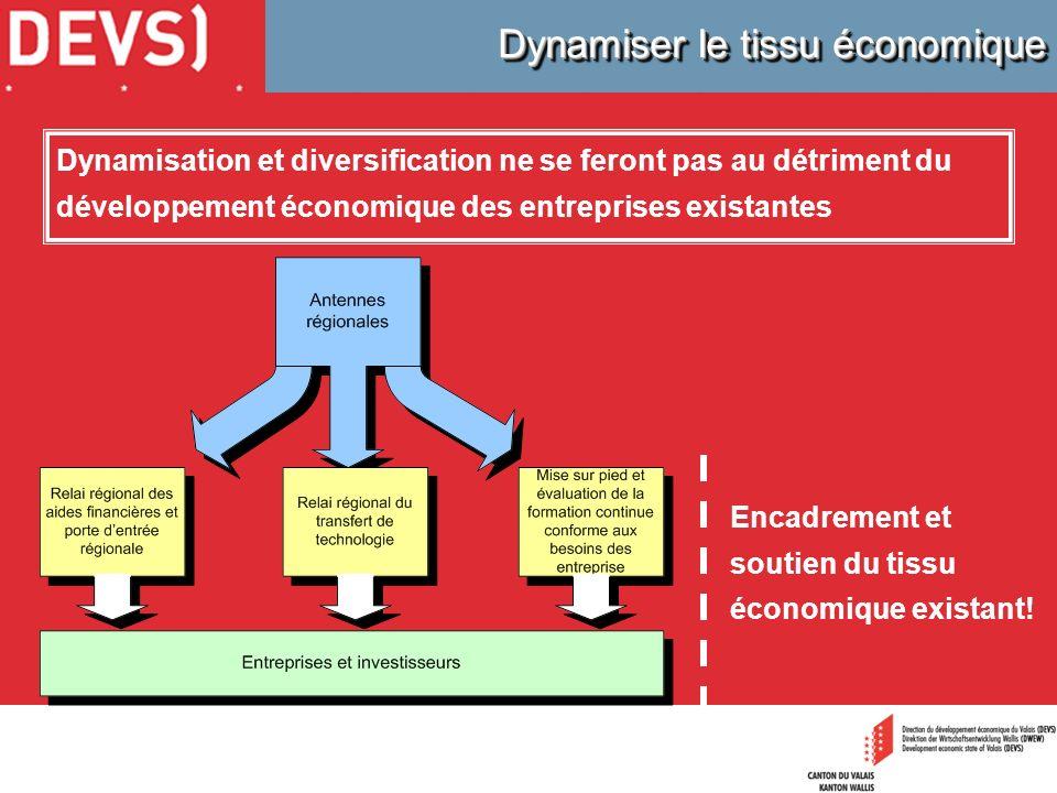 Dynamisation et diversification ne se feront pas au détriment du développement économique des entreprises existantes Encadrement et soutien du tissu é